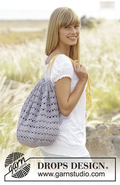 Crochet DROPS bag with lace pattern in Muskat. Free pattern by DROPS Design.