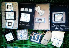 Handmade dark blue and gray valentine cards set by NIKscrapbooking READY TO BE SENT RIGHT NOW !