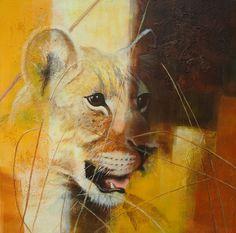 Petra verlooij. Lion from Uganda Deze leeuw is gefotografeerd door Guido Klep in Oeganda. Hij is geschilderd in een abstracte achtergrond.