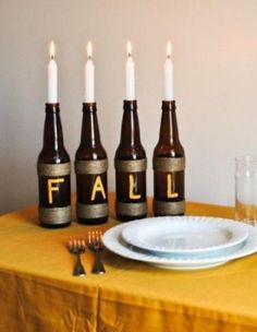 Simple Centerpiece using wine bottles