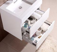 "Bliss 24"" White Wall Mount Bathroom Vanity - The Vanity Store Inc."
