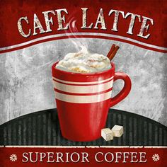 Cafe Latte Canvas Art - Conrad Knutsen x Coffee Signs, Coffee Art, Coffee Shop, Coffee Drawing, Coffee Break, Coffee Time, Latte, Café Chocolate, Coffee Pictures