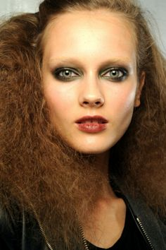 Khaki eyeshadow and winestained lips for Marc Jacobs S/S 2011