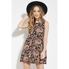 Forever 21 Women's  Paisley Print Mini Dress ($13) ❤ liked on Polyvore featuring dresses, paisley dress, mini dress, viscose dress, paisley day dress and keyhole back dress