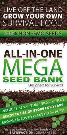 Mega Seed Bank, Designed for survival and long term storage. All in one kit