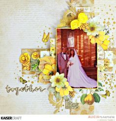 Five Tips for Layering Paper ~ Kaisercraft Golden Grove Layout by Alicia McNamara Bridal Shower Scrapbook, Wedding Scrapbook, Scrapbooking 101, Scrapbook Pages, Parchment Craft, Book Design, Paper Crafts, Crafty, Art Journaling