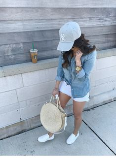 Spring basics - olive & rose outfits with hats, cap outfits, sport outfits, Cap Outfits For Women, Outfits With Hats, Caps For Women, Sport Outfits, Clothes For Women, Trendy Outfits, Summer Outfits, Baseball Cap Outfit Summer, Baseball Game Outfits