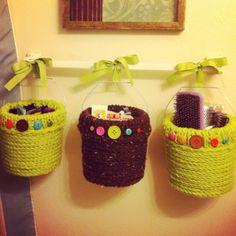 -need more storage so I used plastic buckets & crocheted around them....Pinterest craft improvised!- Plastic Buckets, Pinterest Crafts, Diy Furniture, Straw Bag, Bright Ideas, Crafty, Crochet, Organize, Kids