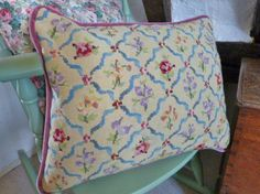 vintage tapestry cushion, needlepoint cushion, handmade cushion, floral cushion, sprig design, blue ribbons, soft yellow cushion by NansCottageVintage on Etsy
