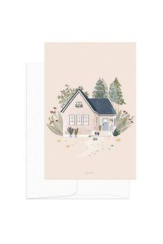 Original Art Prints Garden House Print New Home Greeting