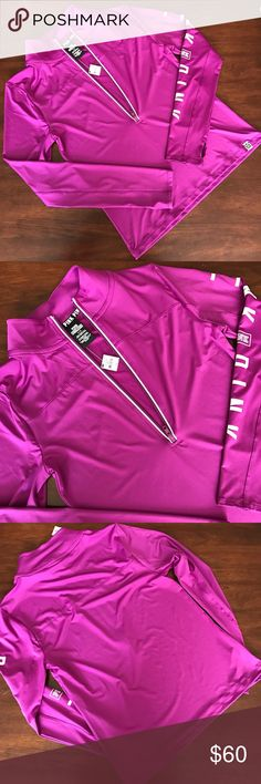 VS PINK ultimate deep half zip For sale is a magenta ultimate deep half zip by Victoria secret pink. The half zip features thumb holes and the logo on the sleeve. No holds, trades, or modeling.                                          #lilkittylady PINK Victoria's Secret Tops Sweatshirts & Hoodies