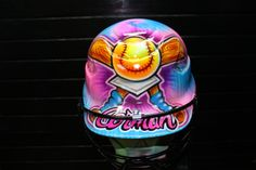 Airbrushed softball helmet on Etsy, $80.00
