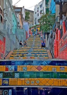 Rio De Janeiro travel, culture & design inspiration | Street art tiled steps. #olympics #rio #riodejaneiro #travel