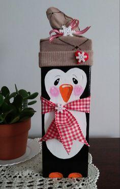 2x4 Holiday Penguin Penguin Christmas Decorations, Wooden Christmas Crafts, Christmas Signs, Christmas Projects, Winter Christmas, Holiday Crafts, 2x4 Crafts, Craft Night, Xmas Ornaments
