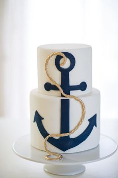 Nautical Wedding Cake / Perfect for any seaside wedding! Stunning photography by KML Nautical Wedding Cakes, Nautical Cake, Seaside Wedding, Cake Wedding, Nautical Party, Nautical Birthday Cakes, Nautical Food, Anchor Party, Navy Party