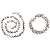 1c0ff26689f8 COLLAR Y PULSERA EN PLATA .925 Collar de esferas martilladas. Largo  56.5 cm