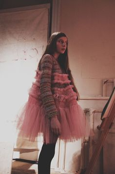 Stripes and pink tulle at Molly Goddard AW15. More Molly Goddard: http://www.dazeddigital.com/fashion/article/23733/1/molly-goddard-aw15