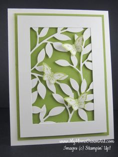 """Little Leaves & Butterflies-Stamps: Papillon Potpourri Paper: Very Vanilla card stock - 4 1/4"""" x 11"""" (scored at 5 1/2""""); 3 1/2"""" x 4 3/4"""" with center cut out, leaving a 1/2"""" border. Lucky Limeade card stock - 4"""" x 5"""" Ink: Lucky Limeade Tools & Accessories: Big Shot Die Cutting Machine Little Leaves Sizzlit die Bitty Butterfly Punch Stampin' Dimensionals"""