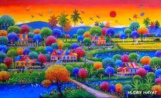 """HUDRY HAYAT Cabo Tierra Kerinci - Sumatra - Indonesia """"Una sinfonía de colores"""" (1) HUDRY HAYAT - Acrílico sobre lienzo ..."""