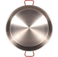 Garcima Traditional Steel Paella Pan (32 inches/ 80 cm) by Garcima. $128.00. (serves 30 to 40 people). XL - 32in/80cm. This pan is perfect for large parties. A pan of this size should be used over an open fire or with a propane paella burner (which we can supply).  It is the traditional carbon steel paella pan used by Spaniards for centuries. As you use your steel paella pan it will become seasoned: changing color and absorbing more flavors as you continue to cook w...