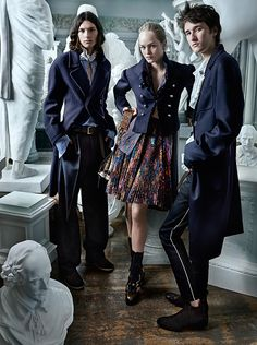 Shot by Mario Testino, the Burberry September campaign starring Jean Campbell, Cavan McCarthy and Alex Dragulele. The new collection features structured wool coats and ruffled cotton shirts.