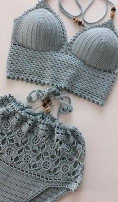Modern Crochet Bikini and Swimwear Pattern Ideas for Summer 2019 - Page 10 of 43 - Women Crochet Débardeurs Au Crochet, Cute Crochet, Ravelry Crochet, Doilies Crochet, Crochet Bikini Pattern, Crochet Bikini Top, Bra Pattern, Crochet Designs, Crochet Patterns
