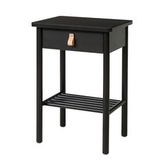 IKEA - BJÖRKSNÄS, Nightstand, black, Smooth running drawer with pull-out stop. Made of solid wood, which is a durable and warm natural material. May be combined with other furniture in the BJÖRKSNÄS series.