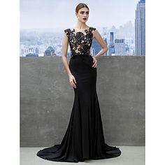 Fiesta formal Vestido - Negro Corte Sirena Cola Corte - Escote A la Base Jersey – USD $ 119.99