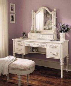 Refinished Vanity Table and Chair Set | Bedroom | Pinterest ...