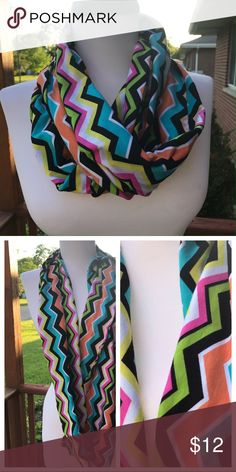 Handmade infinity chevron scarf Made USA Chevron jersey knit infinity scarf with a twist. Fabric made in USA. Handmade by us! Accessories Scarves & Wraps