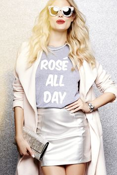 Every day can feel like a champagne soiree as long as you have the Private Party Rose All Day Heather Grey Tee