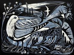 'Sea Change' by Mark Hearld. Editoned at the Penfold Press (linocut) Woodcut Art, Linocut Prints, Art Prints, Block Prints, Chalk Pastels, Wood Engraving, Woodblock Print, Bird Art, Art And Architecture