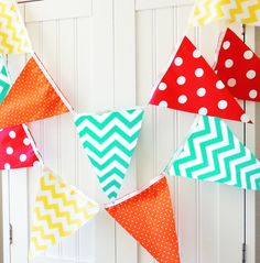Bunting, Banner, Fabric Pennant Flags, Birthday Party, Baby Shower, Photo Prop, Nursery, Orange, Red, Teal, Yellow, Chevron, Polka Dot