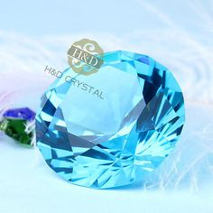 543964db5e0e3 #tosimplyshop Sea Blue Crystal Glass Paperweight Faceted Cut Giant Diamond  Jewel Decor #homedecor #