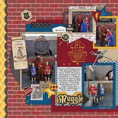 Harry Potter / Wizarding World / Muggle Digital scrapbooking page using Project Mouse (Wizarding) by Britt-ish Designs and Sahlin Studio Pocket Page Scrapbooking, Scrapbook Page Layouts, Scrapbooking Ideas, Scrapbook Pages, Digital Scrapbooking, Universal Parks, Universal Studios Florida, Harry Potter Scrapbook, Disney Scrapbook