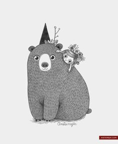me and my bear............Anita Mejia - Illustration Blog: Un oso, si.
