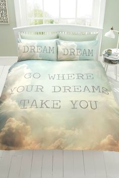 Dreams Duvet Set - King Size £32.00 Available in duvet sets (single with 1 pillowcase, double and king size with 2 pillowcases). 48% cotton, 52% polyester. Machine washable.