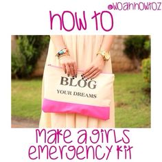 How to: Make a Girls Emergency Kit! 1. Find a small pouch (preferably not see through) that could fit in a backpack. 2. Now, find the things below and put them in your small pouch: mints/gum, Chapstick, hair clips, hair ties, tissues, a small mirror, makeup wipes, pads/tampons, hand sanitizer, mini deodorant, roll on perfume, a mini hairbrush, lotion, band aids, and stain remover. I hope this helped you, lovelies!