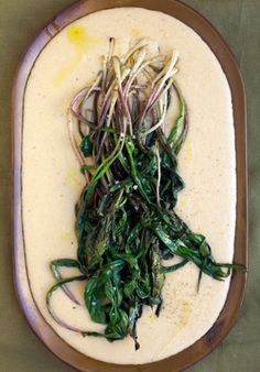 White Cheddar Grits with Grilled Ramps Recipe   SAVEUR