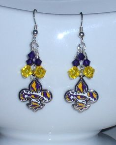 LSU Eye of the Tiger Purple and Gold Crystal Fleur by scbeachbling
