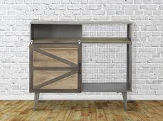 Comoda din metal si lemn cu usa culisanta Seattle #homedecor #interiordesign #inspiration #retro #retroglamour Retro, Garage Doors, Glamour, Cabinet, Interior Design, Storage, Outdoor Decor, Modern, Inspiration