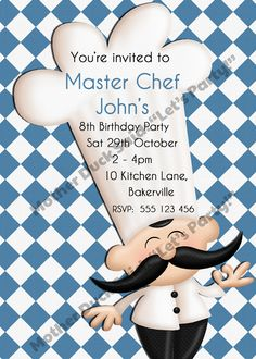"""Chef Party Invitation Printable    Mother Duck Said: """"Lets Party!"""": Triplets Masterchef Party / Cooking Party / Baking Party"""