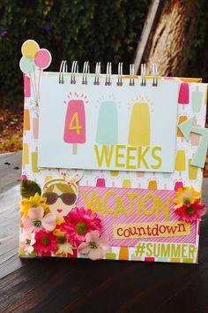 Simple Stories Count Down Calendar Vacation Countdown, Countdown Calendar, Printable Planner, Printables, Simple Stories, Mini Books, Flower Crafts, Mini Albums, 3 D