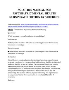 Download solution manual for psychiatric mental health nursing 6th edition by videbeck Psychiatric Mental Health Nursing, Mental Illness, Manual, Free, Textbook, Mental Health