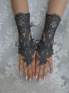 gants de dentelle Fumé, dentelle de mariage Paire de gants, gants de dentelle gothique, steampunk, sexy en dentelle gants, gants