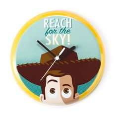 Celebrate the 20th anniversary of Disney/Pixar's popular film Toy Story with this metal wall clock featuring Woody. Emblazoned with a classic phrase used by Woody and many other famous movie cowboys,