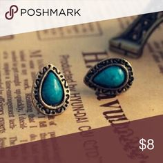 Boho style earrings Dark turquoise colored stud earrings. Adorable!!(look silver in photo but are actually antique gold colored) Jewelry Earrings