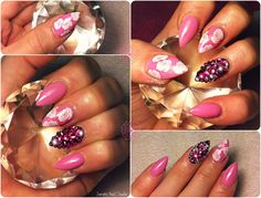 Almond shaped pretty pink nails