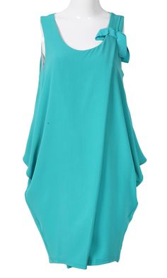 Teal Scoop Neck Sleeveless Draped Side Dress