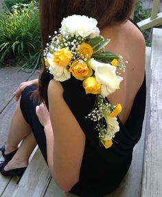 """""""bright and white"""" shoulder corsage - carnation, rose, calla lily (www.gloryfloraldesigns.com)"""